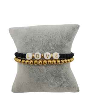 Kralenarmbandenset Black/Gold