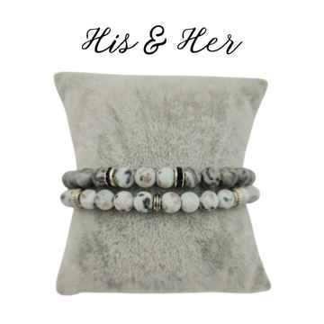 His & Her armband - Grey Love