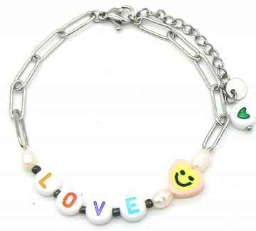 Armband Colourful LOVE - Zilver