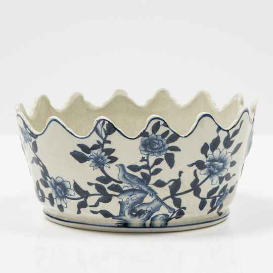Blue earthenware bowl with scalloped edge