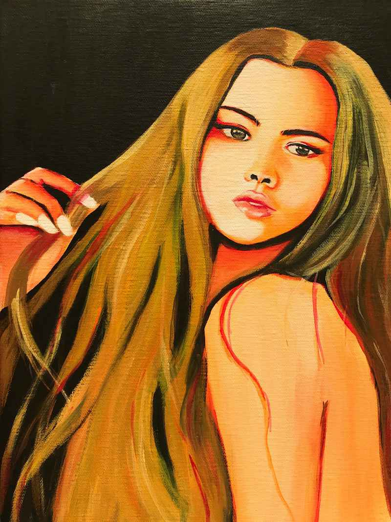 Long hair, don't care Original Painting