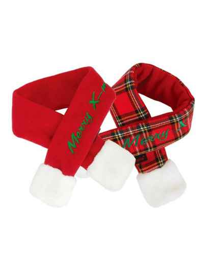 Puppia Santa's Scarf Red & Checkered Red