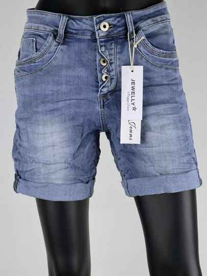 Jewelly Baggy Jeans Short - blauw