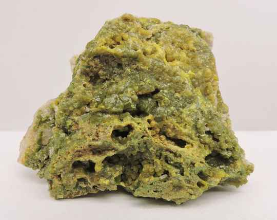 Green and yellow pyromorphite crystals on matrix from France - cabinet size