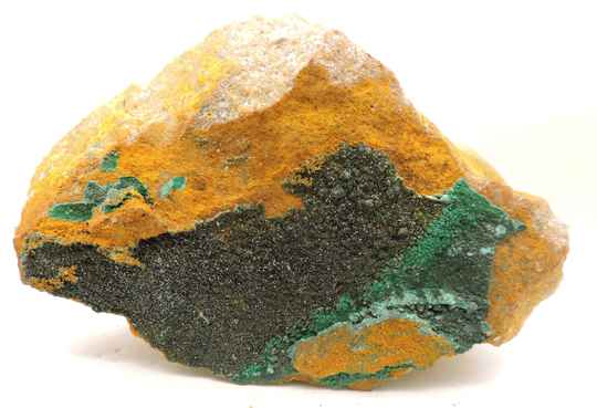Olivinite and malachite from France - cabinet size