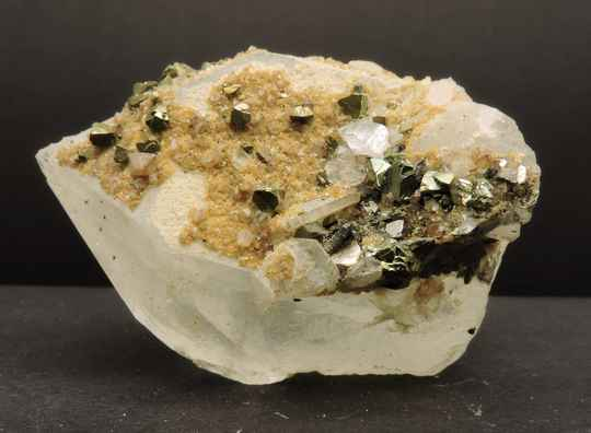 Quartz with (chalco) pyrite and other minerals from China - small cabinet size