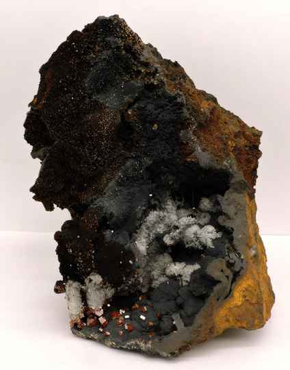 Very rare specimen with vanadinite, selenite and ?? from Morocco - museum quality - large cabinet size