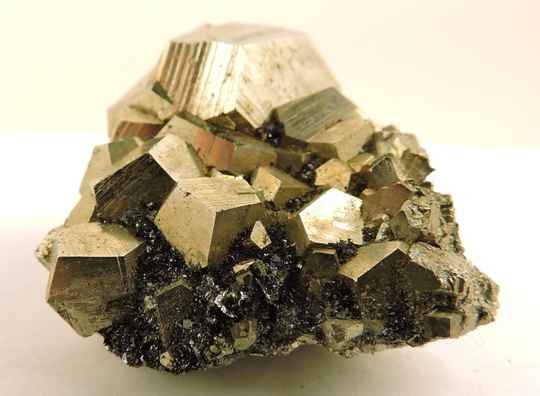 Pyrite with hematite  from Italy - miniature