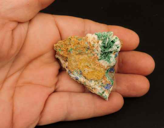 Baryte, malachite and azurite from Mibladen, Morocco - miniature