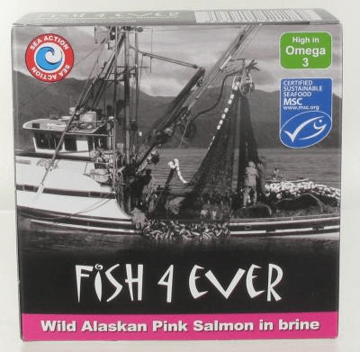 Fish 4 ever wilde rose zalm in water 160gr