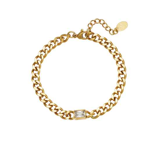 Armband Diamond In Chain - Goud