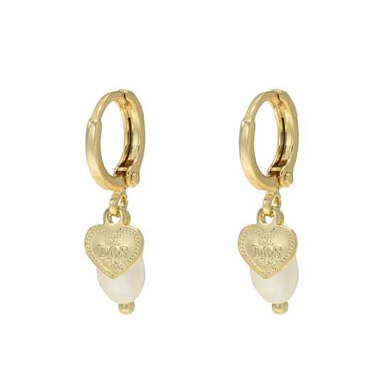 Heart Pearl Earrings - gold