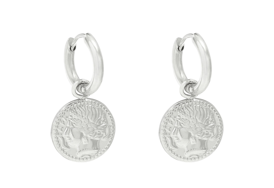 Coin Earrings - silver