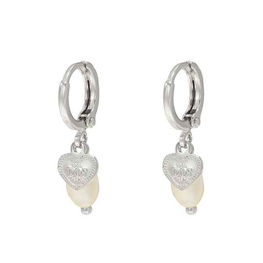 Heart Pearl Earrings - silver