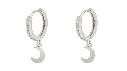 Sparkling Moon Earrings - silver