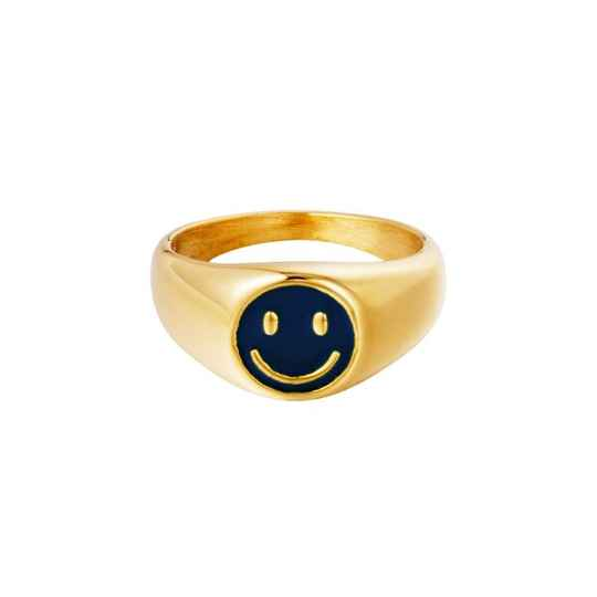 Nooa - Smiley Ring Blauw Stainless Steel