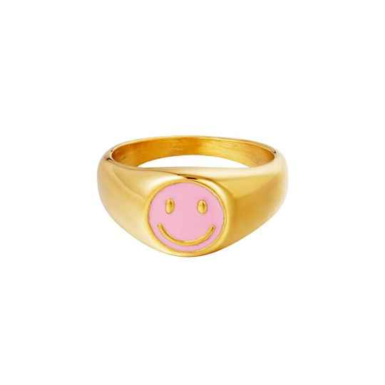Nooa - Smiley Ring Roze Stainless Steel