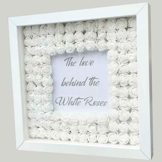 3D shadowbox The love behind the white roses