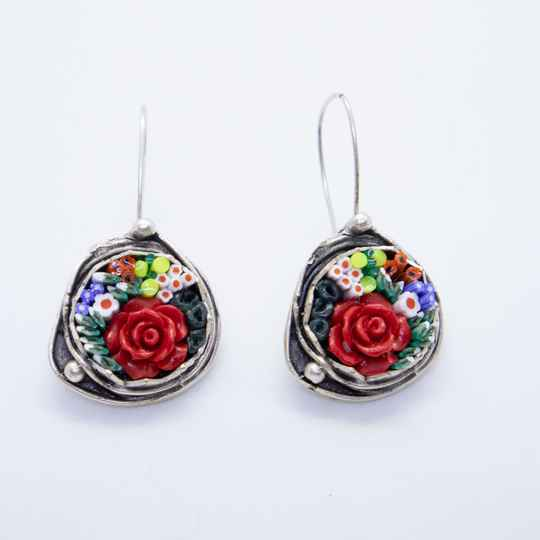 Oorbellen ingelegd met micro mosaic - Earrings inlaid with micro mosaic
