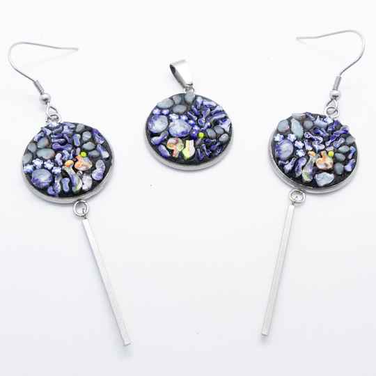 Micro mozaïek hanger en oorbellen (set) - Micro mosaic pendant and earrings (set)