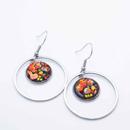 Oorbellen ingelegd met glas - Dangle and drop earrings inlaid with glass mosaic
