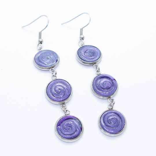 Oorbellen lang paars - Purple dangle and drop earrings