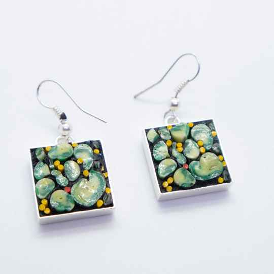 Echt zilveren oorbellen ingelegd micro mozaïek - Silver dangle and drop earrings with micro mosaic inlay