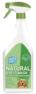 OUT! NATURAL PEST WASH SHAMPOO AND CONDITIONER SPRAY 500 ML