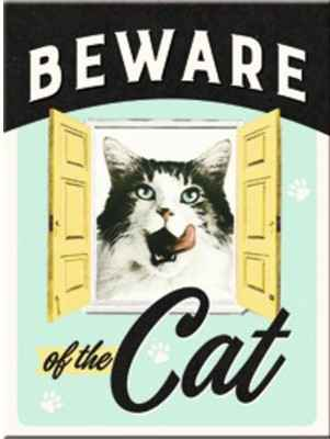 MAGNEET BEWARE OF THE CAT 6X8CM