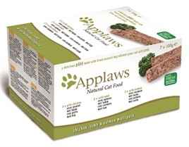 APPLAWS CAT MULTIPACK CHICKEN / LAMB / SALMON 7X100 GR VOORDEELPAK