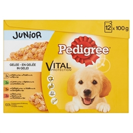 PEDIGREE MULTIPACK MAALTIJDZAKJES JUNIOR IN GELEI 12X100 GR