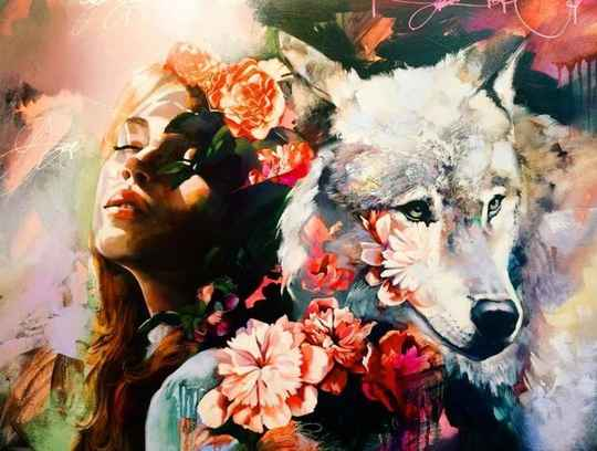 Diamond Painting - The Wolf and The Lady 40x30cm