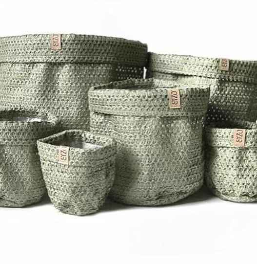 Sizo knitted paper bag olive
