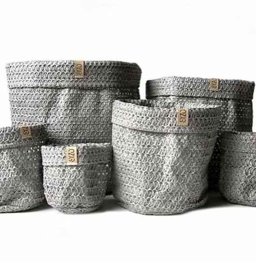 Sizo knitted paper bag grey