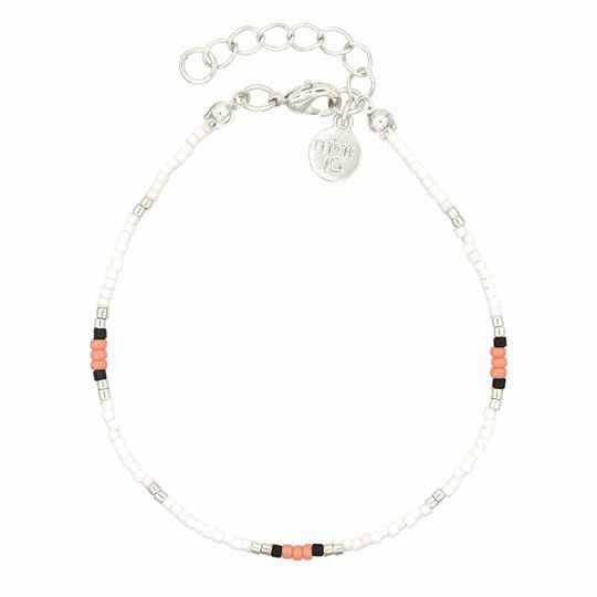 Armband Surf Beads - Coral - zilver