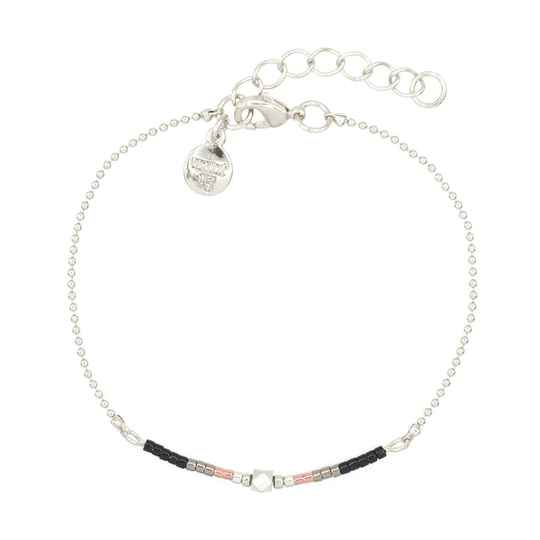 Armband Delicate Chain & Beads - Black - zilver