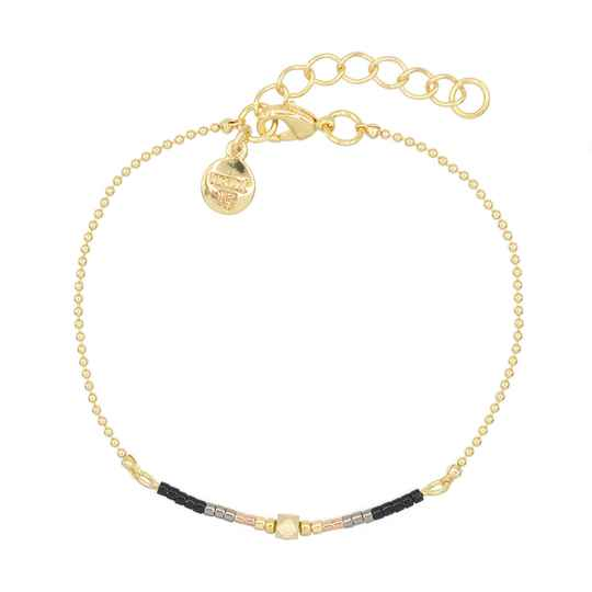 Armband Delicate Chain & Beads - Black - goud