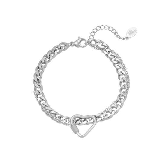 Armband Chained Heart zilver