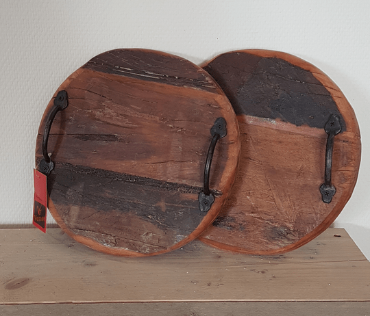 Ronde tray oud hout klein