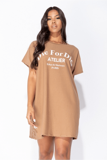 Die For Dór T-shirt Dress - Beige