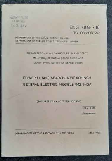 ENG 7 & 8-7116 Power plant searchlight 60 inch Models 1942, 1942A