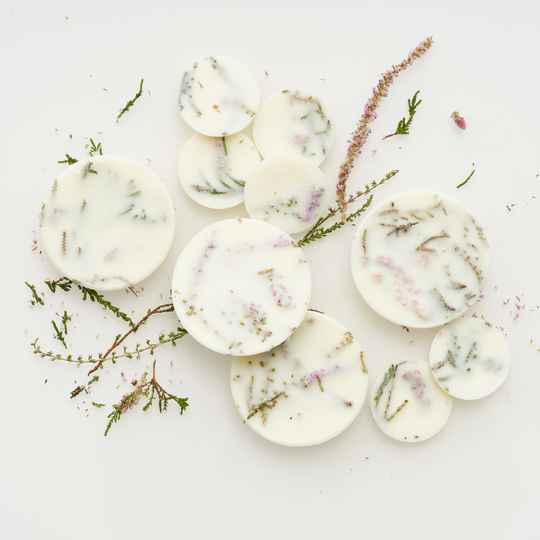 Heather scented soy wax rounds