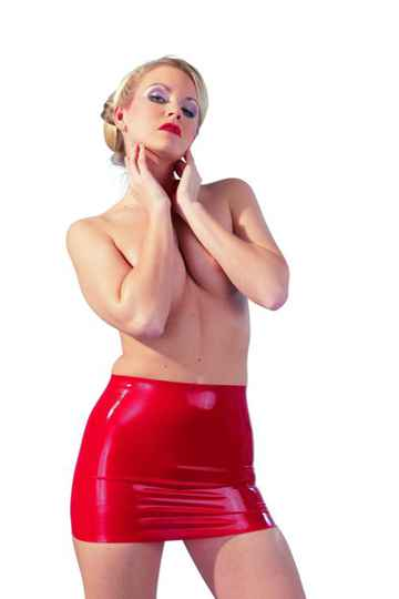 Latex Mini Rokje - Rood