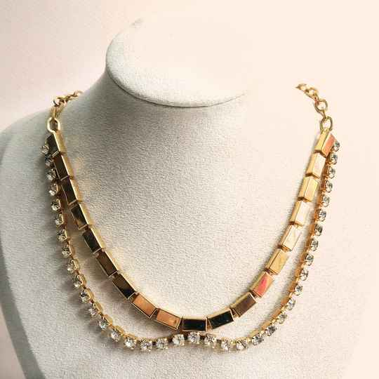 Gouden strass ketting 70s