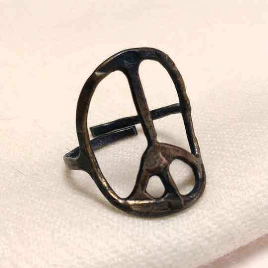 Peace bronzen ring 70s