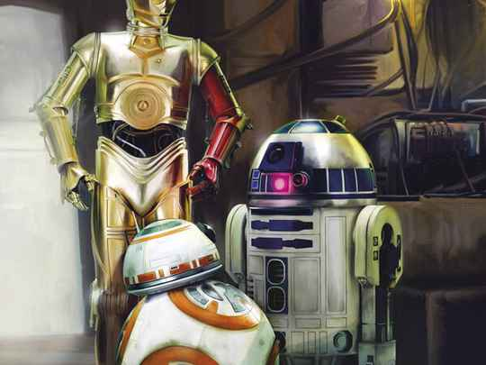 Fotobehang Star Wars Three Droids - 184 x 254 cm