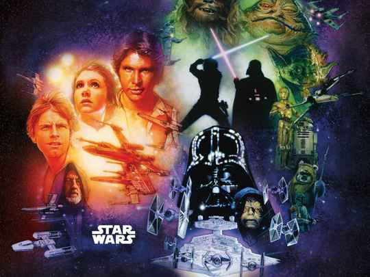 Fotobehang Star Wars Classic Poster Collage - 250 x 250 cm