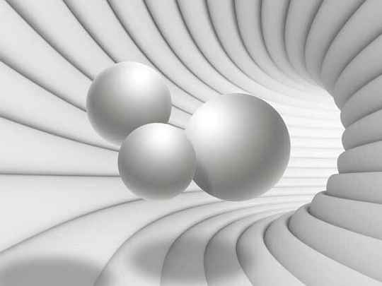 Fotobehang 3D Tunnel With White Spheres