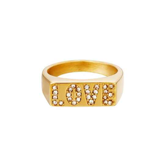Ring love letters goud