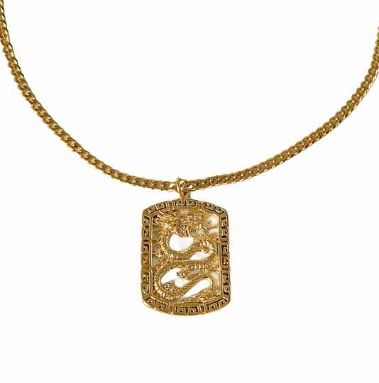 Dragon necklace gold